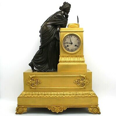 Antique Empire Pendulum mantel Clock ormolu (H.61) in Bronze - 19th century