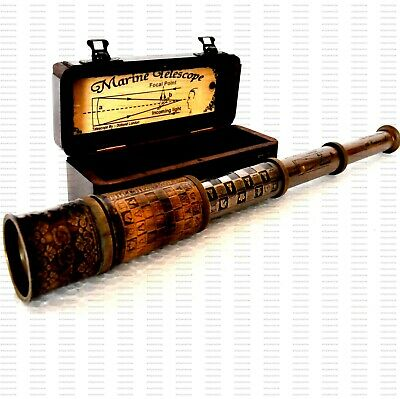 Marine TELESCOPE 16 Inch Collectible Nautical Maritime Antique With Wooden Box