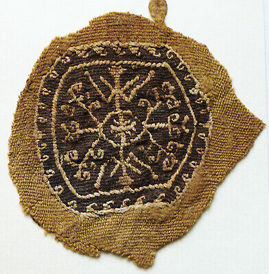 Ancient Coptic Textile Fragment -Geometric Pattern,Emblem, Egypt, Christian Arts
