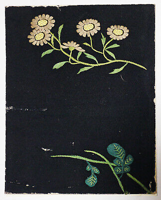 Antique Textile Fragment -  Dyeing and Weaving, Flower Embroidery