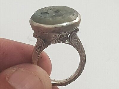 Exeptional Extremely Rare Medieval Silver Ring Seal /Bird/Figures .11,2 Gr.19 Mm