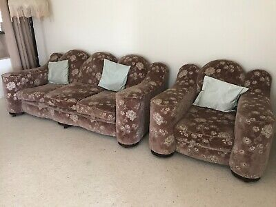 Antique 1935 club lounge. 3 seater and 2 single chairs. EXCELLENT condition.