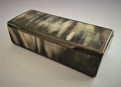 Antique Bovine Horn Snuff Box, Engraved ALEM