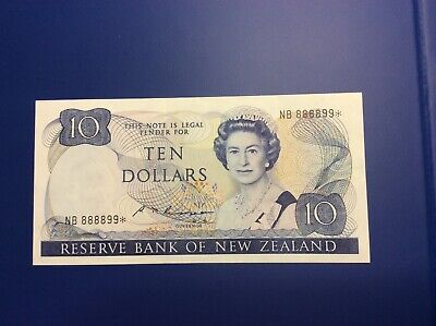 Rare New Zealand Replacement Star $10 Russell Banknote - NB 888899* - VF