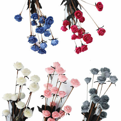 15 Têtes PE Mini Roses Small Fake Flowers Wedding Home Garden Party DIY Decor