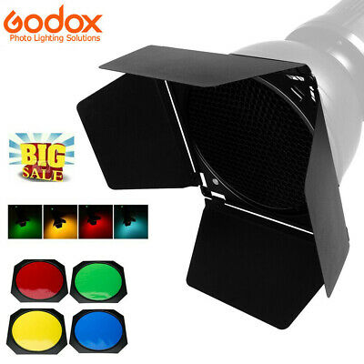 Godox Barn Door + Honeycomb Grid + 4 Color Filters BD-04 For Standard Reflector