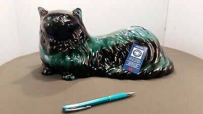 """Blue Mountain Pottery 15"""" Laying Cat w/label and tag"""