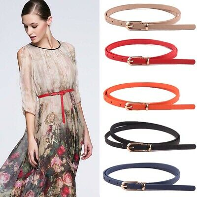 Women's Faux Leather Belts Candy Color Thin Skinny Waistband Adjustable