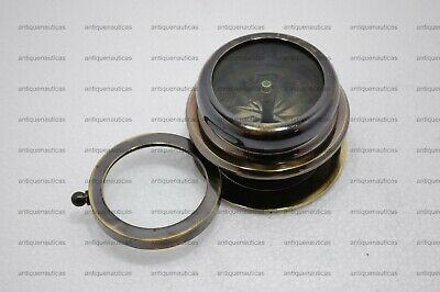 Antique Brass Marine Compass With Sliding Magnifying Glass Collectible Maritime