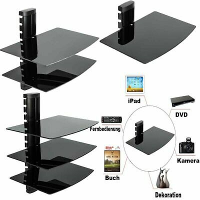 Triple Three 3 Glass Floating Shelves Shelf For DVD SKY BOX TV PS4 Wall Mounted