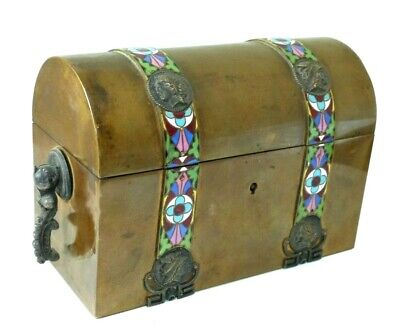 Antique 19th Century French TAHAN Domed Topped Casket with Enamel Bands – Signed