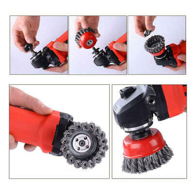 Twist Knot Semi Flat Wire Wheel Cup Brush Angle Grinder Tool Kit Durable