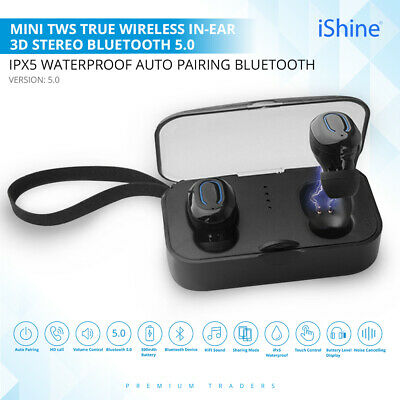 5.0V Mini TWS Twins True Wireless Bluetooth In-Ear Earphones Headset Earbuds UK