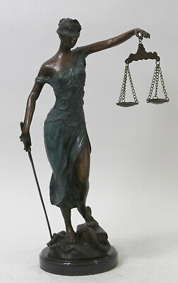 Genuine Bronze Blind Justice Justica Hand Made Masterpiece Lost Wax Method Sale