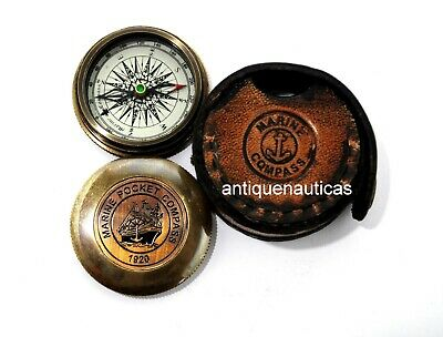 Pocket Compass 1920 With Leather Box Antique Brass Vintage Collectible Marine