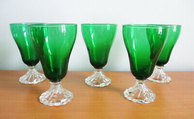 Anchor Hocking 5 Burple Water Tumblers Forest Green Swirl Foot 5 7/8""