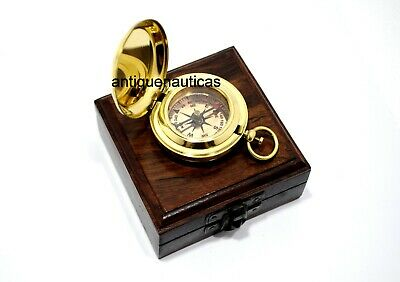Push button Compass Marine Nautical Golden Finish Vintage With Wooden Box