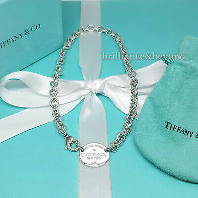 Return to Tiffany & Co. Oval Tag Necklace Choker 925 Sterling Silver Box + Pouch