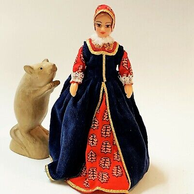 Hard Plastic Doll in Historical English Dress 18cm Tall Braided Bun Jointed Arms