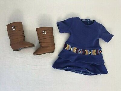 American Girl Doll Saige Outfit Blue Western Meet Dress & Boots Set