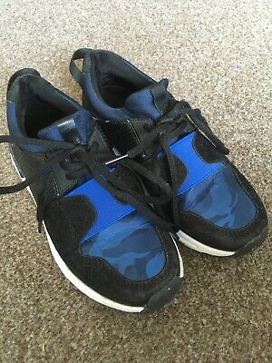 Boys / Girls Black & Blue Camouflaged River Island Trainers Size 12 Sport Footy