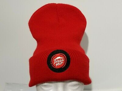 Pizza Hut Employee Uniform RED Knit Beanie Winter Hat Toque Skull Cap Cuffed