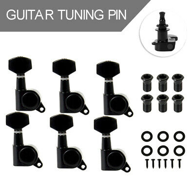 6R Black Guitar Tuning Peg Locking Tuners Heads For Fender Parts Inline Tool