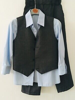Boys Trouser Shirt Waistcoat Outfit Set Smart Aged 5-6 Years