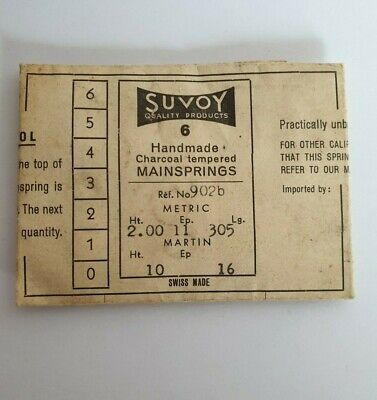 6 Vintage SUVOY Handmade CLOCK MAINSPRINGS in ORIGINAL PACKET - Ref 902b