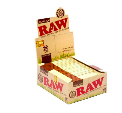 RAW King Size Slim Organic Rolling Papers - 1 Full New Box - 50 Packets Genuine