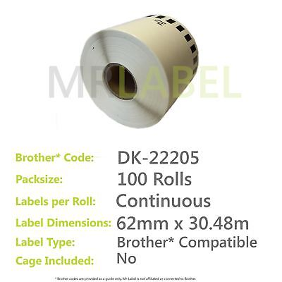 Pack of 100 Brother Compatible Labels DK-22205