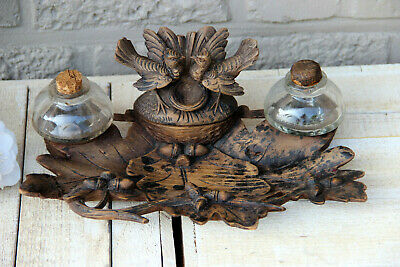 Antique BLACK FOREST wood carved rare inkwell birds couple animal