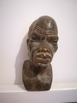 African soapstone marble bust old hand carved crafted antique heavy