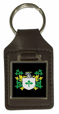 Ticehurst Family Crest Surname Coat Of Arms Brown Leather Keyring Engraved