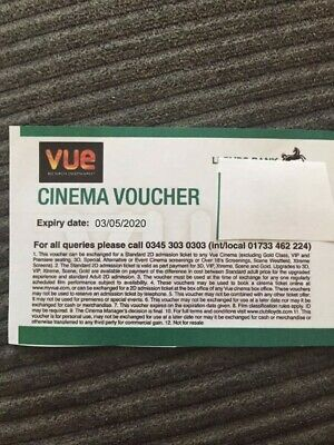 Vue cinema tickets x 2 - watch any 2D film - Free Recorded P&P Face Value max 23