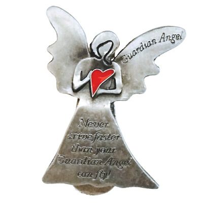 "Car Visor Clip ""Never Drive Faster Than Your Guardian Angel Can Fly!"" 2 1/4"" H"