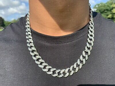 Men's Iced Out Silver Plated Cuban Link Lab Diamond Chain Necklace Hip Hop 20""