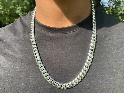 Men's Silver Plated Cuban Curb Link 10mm Chain Necklace 24""