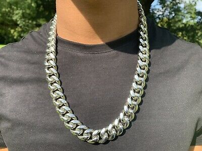 Men's Silver Plated Cuban Curb Link 18mm Chain Necklace 24""