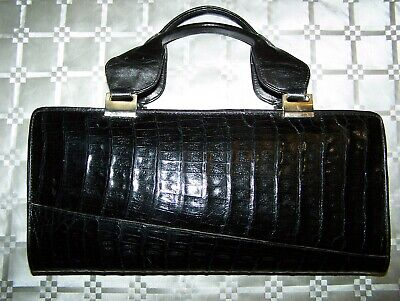Borsa Vero Coccodrillo Vtg '70 Genuine Crocodile Black Skin Hand Bag