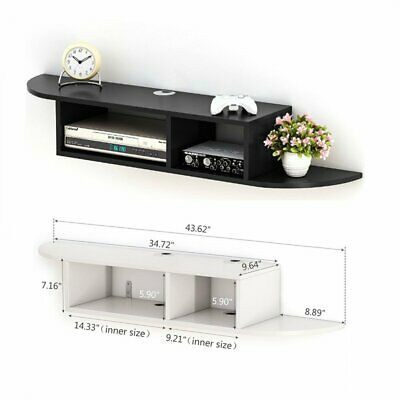 Modern 2 Tier Wall Mount Floating Shelf TV Console for Cable Boxes & DVD Players