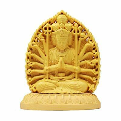 Buddha Carved Wooden Figurines Thechanger Mini Wood Double-Sided Sculpture Child
