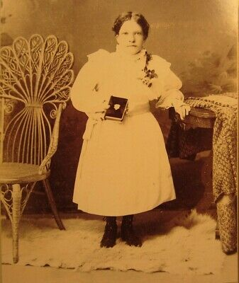 Victorian Antique Cabinet Card Photo of Young Child Little Girl Kid Confirmation
