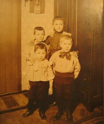Victorian Antique Cabinet Card Photo of Young Children Kids Sister and Brothers