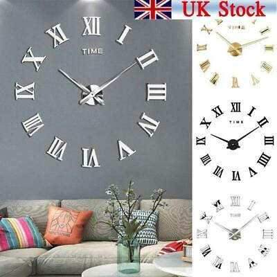 DIY 3D Large Wall Clock Roman Numeral Metallic Mirror Stick On Clock Home Decor