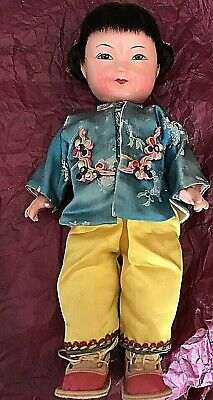Antique Chinese Composition Doll In Silk Clothing.