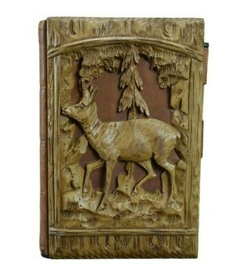 French Rare Antique Black Forest Carved Wood Notebook Card