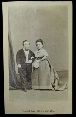 Antique Cdv Photograph  Of General Tom Thumb And Wife Lavinia