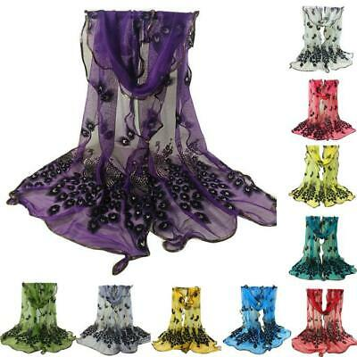 US Women Ladies Peacock Floral Embroidered Lace Scarf Wrap Shawl 185*43cm 5Color