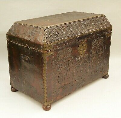 Antique French Studded Leather Chest